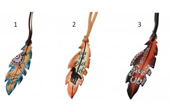 tie on hand painted leather feather