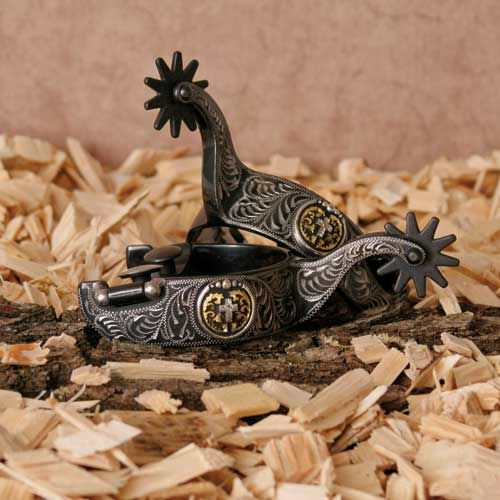 Spurs Cross Black Satin Steel