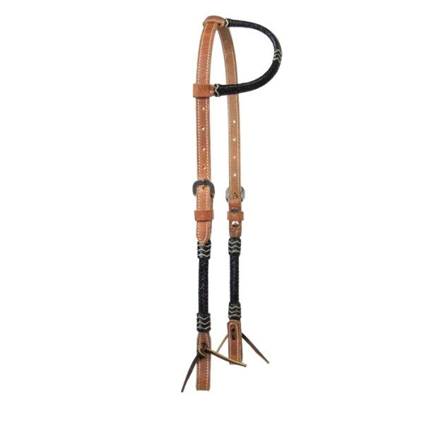 Harness Headstall with Black Rawhide Schutz Brothers
