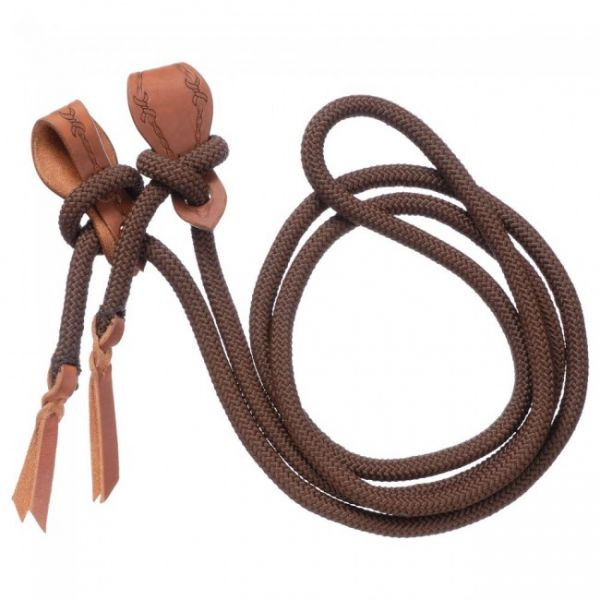 Cord Roping Reins mit Slobber Straps in braun und schwarz