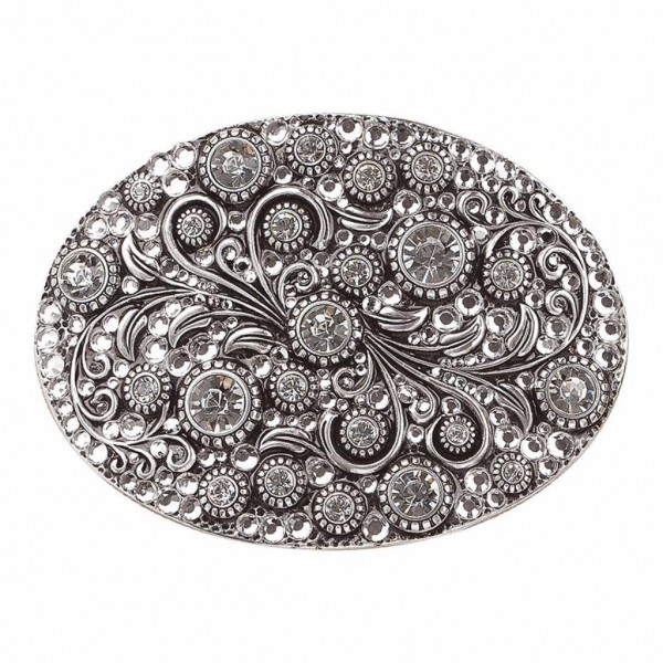 Womens Buckle Oval Chrystal Silver