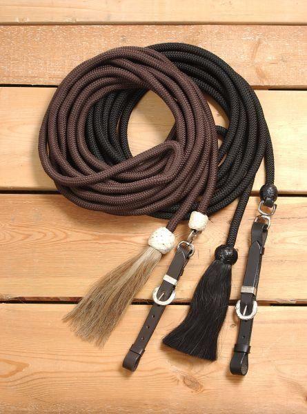 Lunge Line - Longe mit Lederverschluss und Horsehair-Tassel