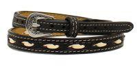 Black & Ivory Laced Leder Hutband