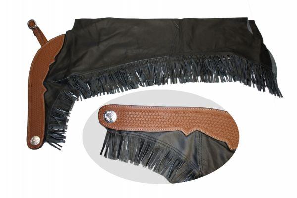 Glattleder Chaps Premium mit basketpunziertem Lederbesatz und Fransen
