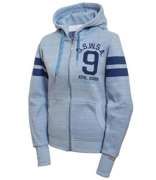 WOMEN HOODED SWEAT JKT SUNNY blue melange