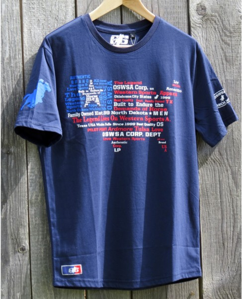 OSWSA MENS T-SHIRT USA navy