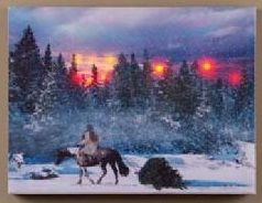 LED Canvas Bild Lighted Cowboy Christmas