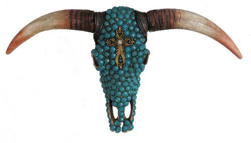 Turquoise stone studded resin steer skull